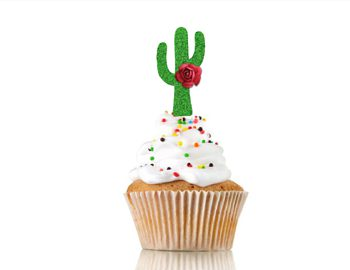 Heartfelt Fiesta (aqua)  green Cactus cupcake toppers set of 12 CT2980/b