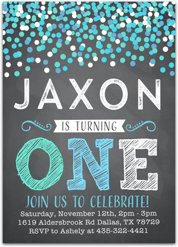 Que the Confetti Birthday party invitation for boy NV0108