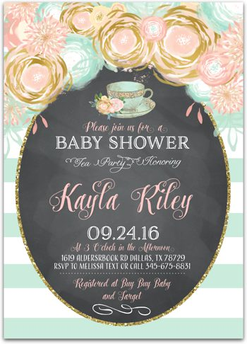 Baby Blend (Tea Party) Baby shower invitation for girl NV0544