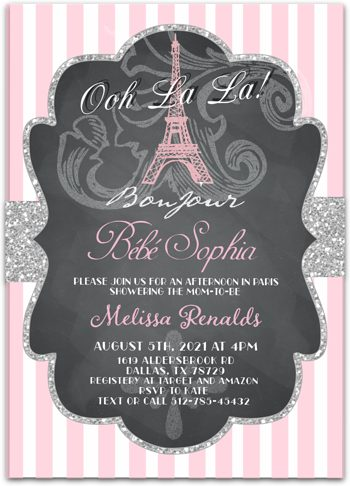Bonjour Bebe (pink)  Baby shower invitation for girl NV0564