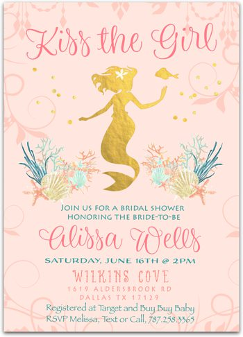 Kiss the Girl (rose gold) Bridal shower invitation  NV0619