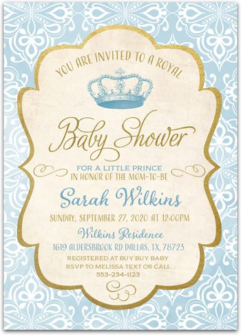 Little Prince Baby shower invitation for boy NV0675