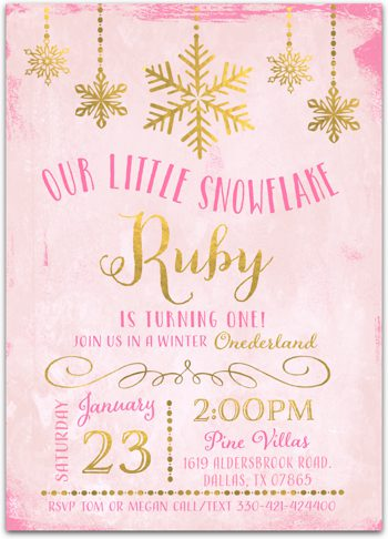 Little Snowflake Birthday party invitation for girl NV1010