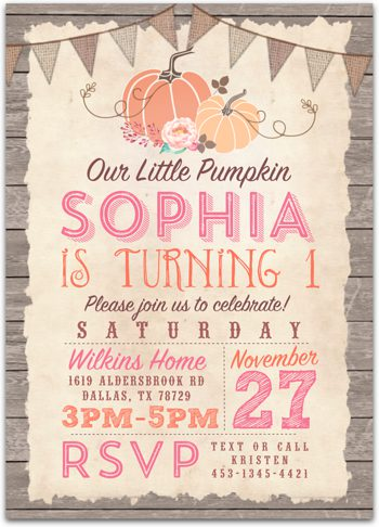 Little Pumpkin Birthday party invitation for girl NV1625
