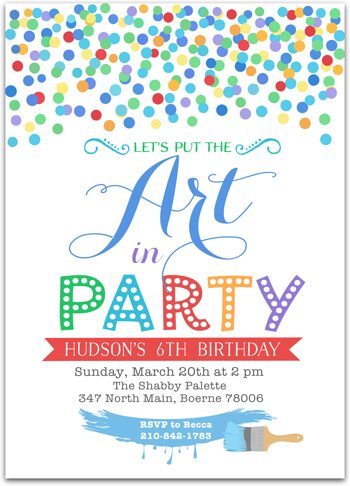 Art Party Birthday party invitation for boy NV1764