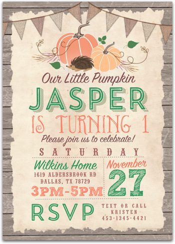 Little Pumpkin Birthday party invitation for boy NV2006
