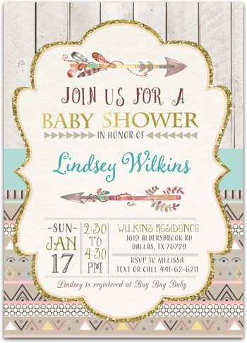 Tribal Chic Baby shower invitation for girl or boy NV2125/n