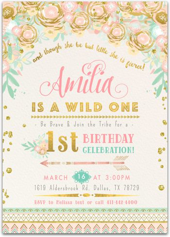 Wild One (Classic) Birthday party invitation for girl NV2237