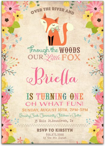 Foxy Woodland Birthday party invitation for girl NV4277