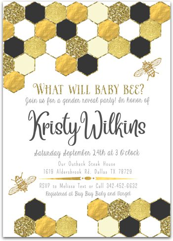 What Will Baby Bee? Baby shower invitation for girl or boy NV5236