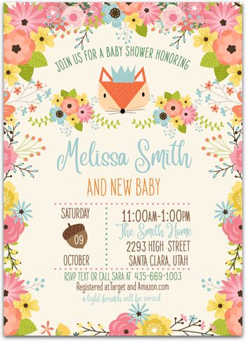 Woodland Foxy Baby shower invitation for boy NV7408