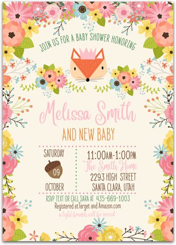 Foxy Woodland Baby shower invitation for girl NV7409
