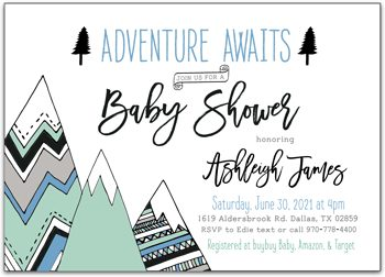 Adventure Awaits Baby shower invitation for boy NV9043