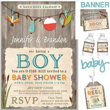 Gone Fishing Baby shower party pack for boy PK0873