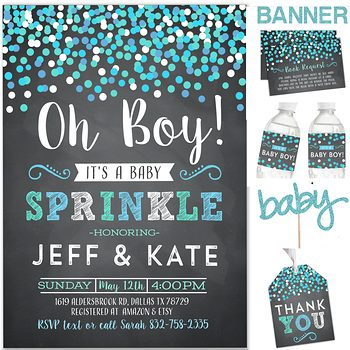 Oh Boy (Confetti) Baby shower party pack for boy PK1208
