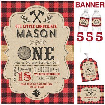 LumberJack Cabin Birthday party pack for boy PK2132
