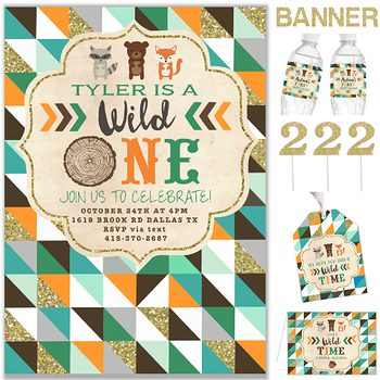 Wild One (Woodland) Birthday party pack for boy PK4530