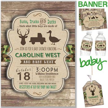Bucks Trucks and Ducks Baby shower party pack for boy PK6247