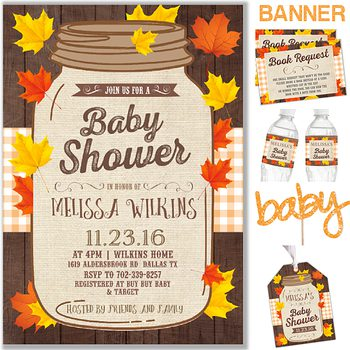 Fall in Love Baby shower party pack for girl or boy PK7632/n