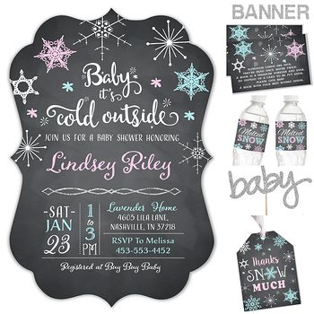 Snowflake Wonderland Baby shower party pack for girl or boy PK7773