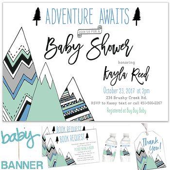 Adventure Awaits Baby shower party pack for boy PK9043