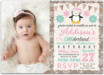 Penguin Snowland Birthday party photo invitation for girl PV2010
