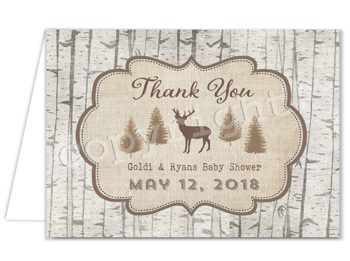 Rustic Baby Q Matching thank you card TN0602