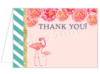 Summer Stripes (Flamingo) Matching thank you card TN0766