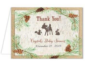 Woodland Friends Matching thank you card TN0772