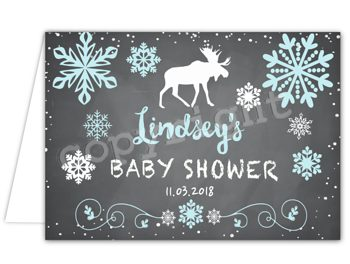 Winter Moose Matching thank you card TN3482