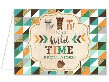 Wild One (Woodland) Matching thank you card TN4530