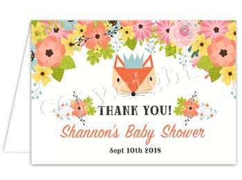 Woodland Foxy Matching thank you card TN7408