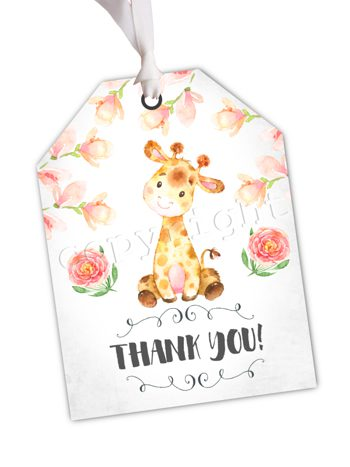 Peachy Giraffe Matching favor tag TT1796
