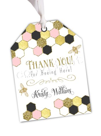 Sweet As Can Bee (pink)  Matching favor tag TT5132