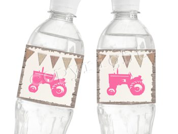 Graceful Tractor Matching water bottle label WL2012
