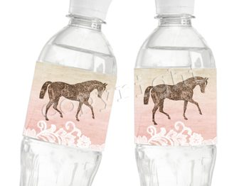 Rose Gallop Matching water bottle label WL4001